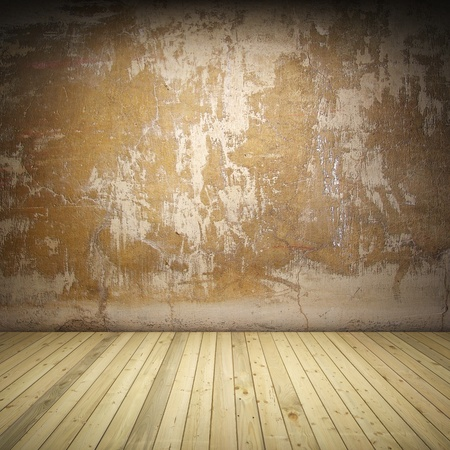 Interior room with grunge wall and wooden floor photo