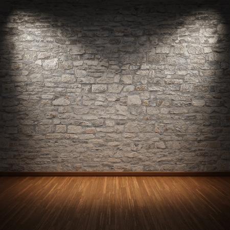 brick floor: Habitaci�n interior con muro de piedra y piso de madera
