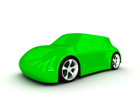 Ecologic green car isolated on white background photo