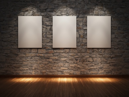 art gallery: Blank frame on stone wall illuminated spotlights Stock Photo
