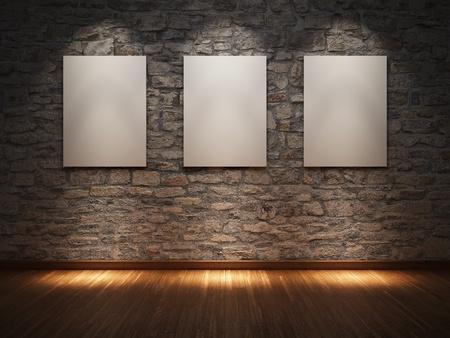 art gallery: Telaio bianco sul muro di pietra illuminata faretti Archivio Fotografico