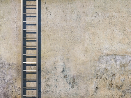 ladders: Blank dirty grunge wall with ladder