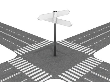 Crossroad with signpost photo