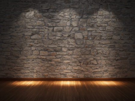 Camera interna con muro in pietra e pavimenti in legno