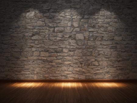 Habitación interior con muro de piedra y piso de madera