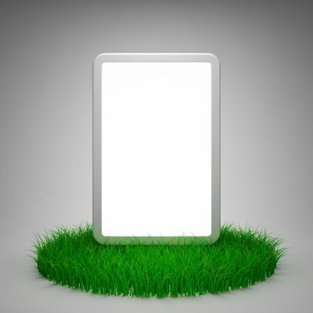 Blank advertising billboard on grass photo