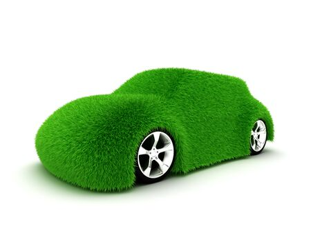 protection concept: Ecologic green car isolated on white background