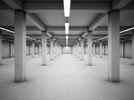 지하에: 빈 지하 주차장 스톡 사진