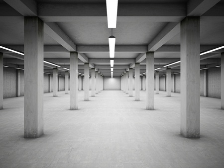 Empty underground parking area photo
