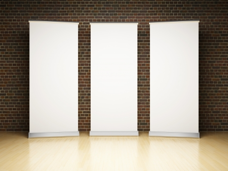 banner ads: Blank roll up banner in studio on brick wall Stock Photo