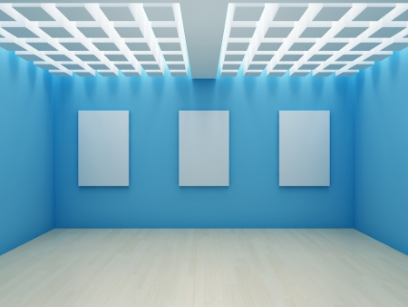 Blank frame on wall in modern hall photo