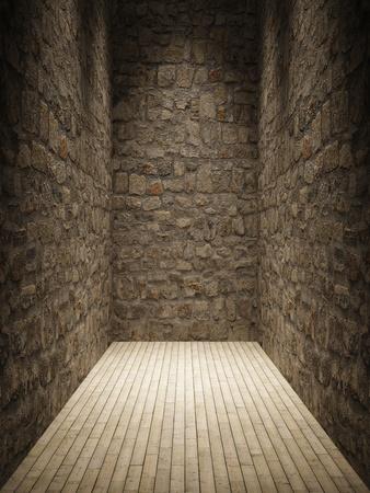 iluminados: Habitación interior con muro de piedra y piso de madera