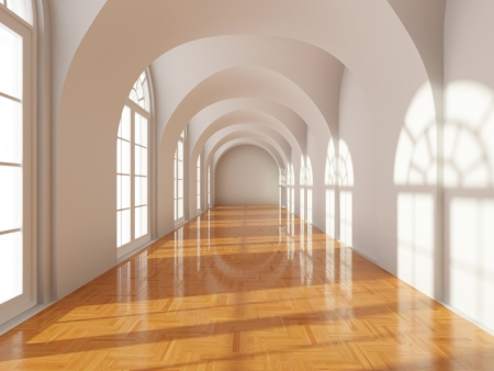 Modern long corridor with big windows photo