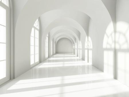 big windows: Современные длинный коридор с большими окнами