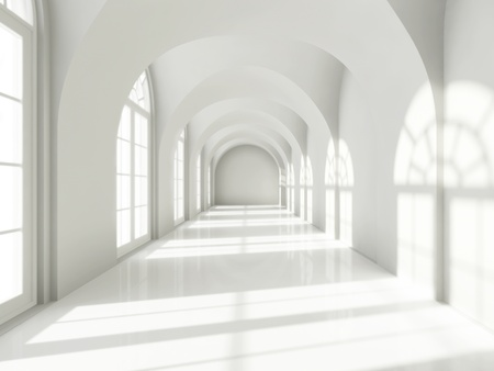 interior window: Modern long corridor with big windows Stock Photo
