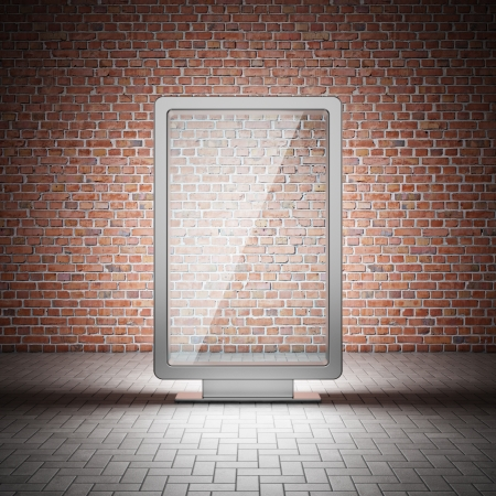 En blanco la calle vallas publicitarias y la pared de ladrillo en la noche Foto de archivo - 14470182
