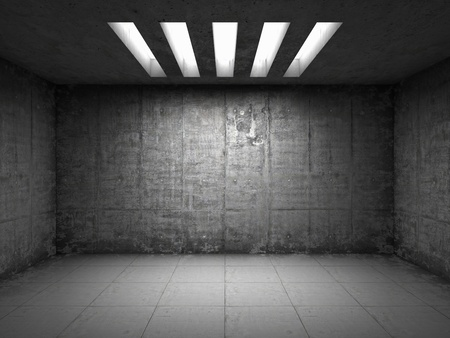 Sala vacía con muros de hormigón Foto de archivo