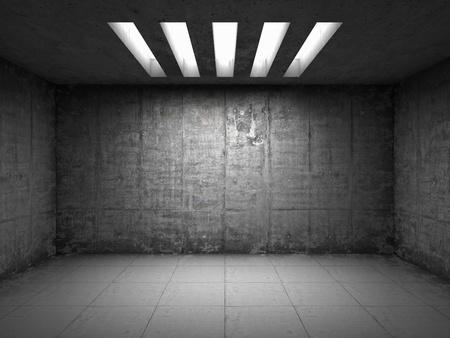 iluminados: Sala vacía con muros de hormigón Foto de archivo