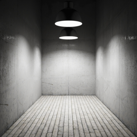 abandoned warehouse: Interior room illuminated by lamps made ​​of concrete Stock Photo
