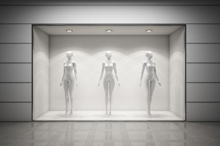Fenêtre d'affichage Boutique avec des mannequins