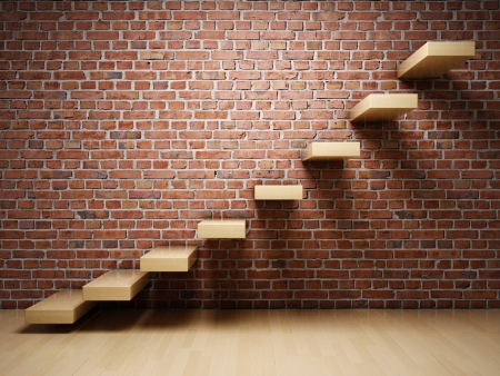Abstract stairs on brick wall in interior photo