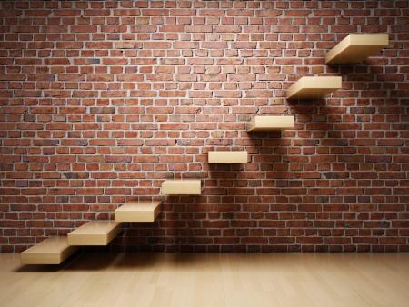 escalera: Resumen de las escaleras en el interior de la pared de ladrillo Foto de archivo