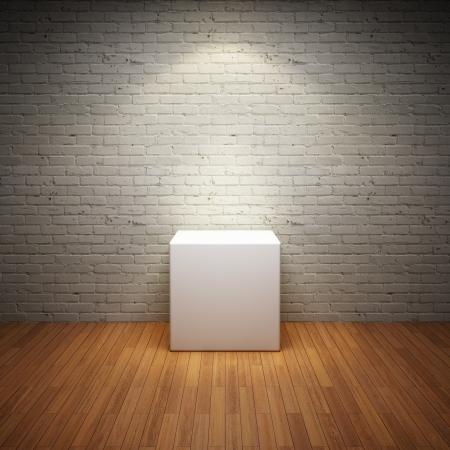 mus�e: Vider socle blanc dans la chambre int�rieure vieux mur de brique et spot de lumi�re