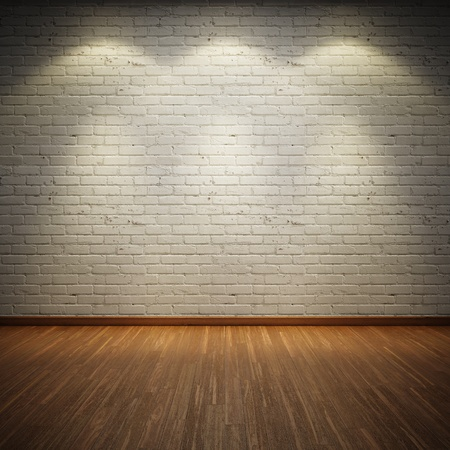 Old inter room with brick wall and three light spots Stock Photo - 14470185