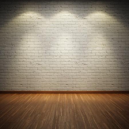brique: Vieux espace int�rieur avec mur de brique et de trois points lumineux Banque d'images