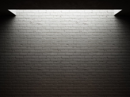 Dirty brick wall illuminated photo