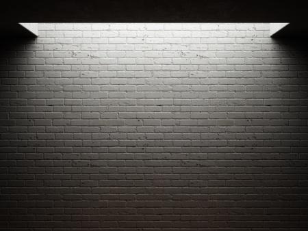 pared iluminada: Dirty pared de ladrillo iluminada