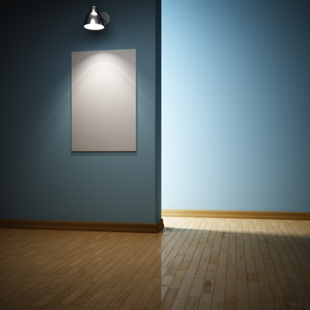 background design: Modern interior room with frame illuminated by lamp