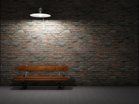 streetlight: Dirty brick wall illuminated by lamp Stock Photo