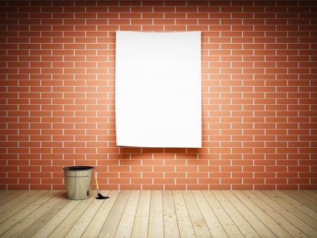 Blank paper on brick wall Stock Photo