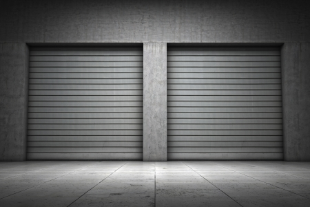 shutters: Garage building made of concrete with roller shutter doors