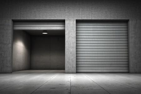 garage door: Garage building made of concrete with roller shutter doors