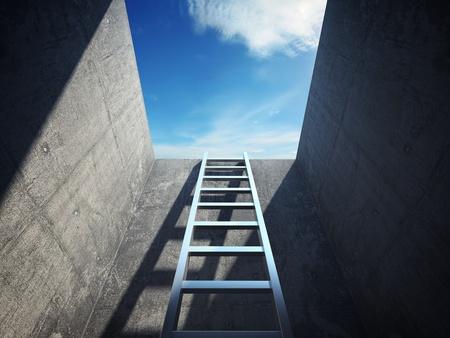 optimismo: Escalera que conduce a la luz Foto de archivo