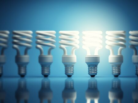 fluorescent light: One glowing light bulb among many of the disabled