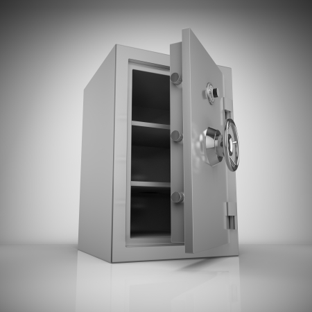 safe deposit box: Bank safe in light with reflection