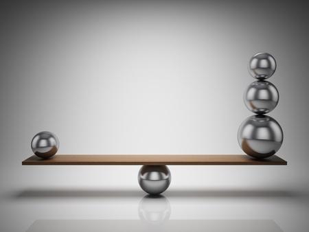 balanza: Bolas de equilibrio sobre tabla de madera
