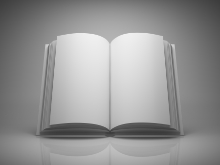paperback book: Blank open book on grey background