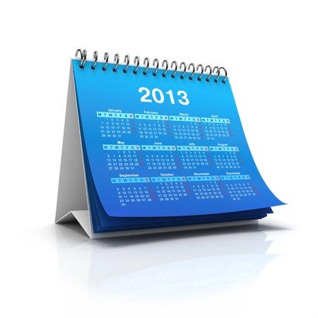 calendario escritorio: Calendario de escritorio en 2013 a�o aislados sobre fondo blanco Foto de archivo