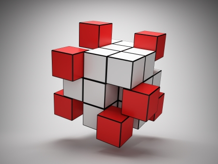 Abstract structure of cubes with red key elements photo