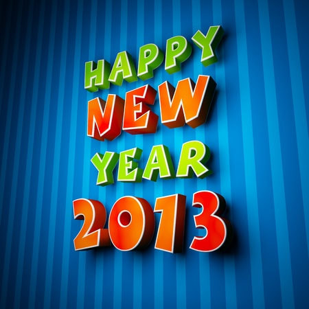 Happy new year 2013 on strip blue background Stock Photo - 15685965
