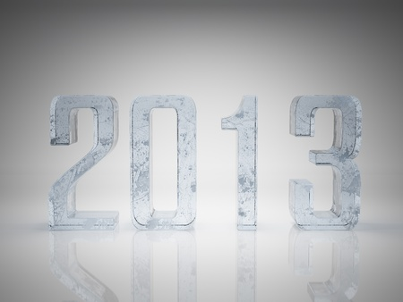 Happy New Year 2013 greeting card made from ice Stock Photo - 15685968