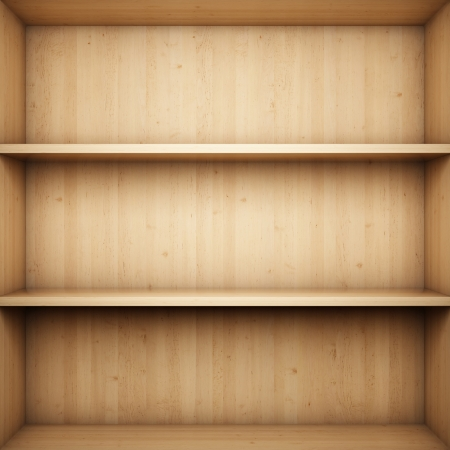 compartments: Blank wooden bookshelf