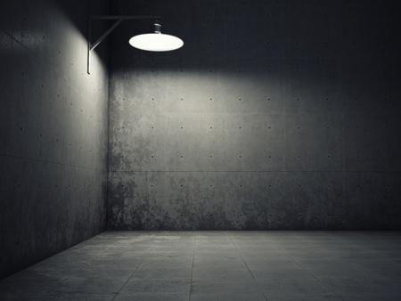 oxidado: Muro de cemento sucio iluminado por la lámpara Foto de archivo