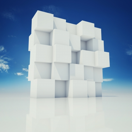 Abstract wall of cubes photo