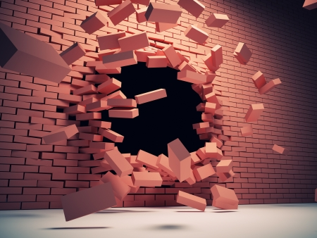Destruction of brick wall photo