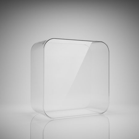 blank box: Empty glass box for exhibit Stock Photo